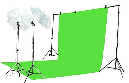 ePhoto K-15 10x20green Chroma Key Green Screen Lighting Kit with 10x20-Foot Green Muslin Backdrop, 2 Each of 7-Foot Light Stand (Green)