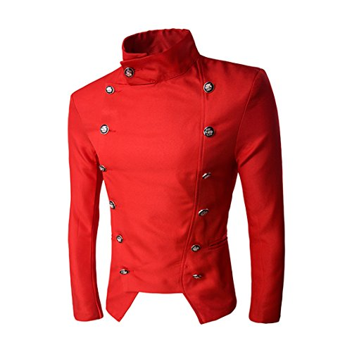 Mada Men's Knight Style High Collar Suit Jacket Slim Classic Blazers Asian XX-Large Red