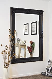 6ft x 4ft (183 x 122cm) Beautiful Large Black Decorative Ornate Wall Mirror by Mirroroutlet