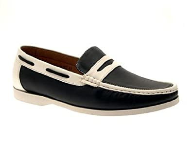 MENS MULES LOAFERS BOAT DECK MOCCASINS FLEXIBLE SLIP ON SHOES WHITE SOLE BLACK WHITE 11