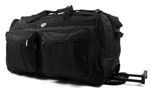 Extra Large Wheeled Holdall Suitcase Luggage 34 Inch Bag Choice Of 3 Colours Plain Black by Aero Travel