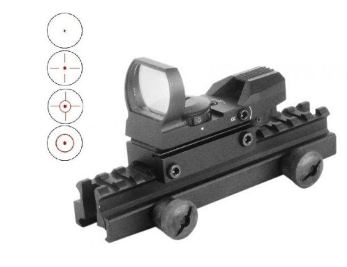 "Global Sportsman Qd Tactical 1"" Weaver-Picatinny High See Thru Stanag Riser Mount For Ar15 M4 Flattop Rifle Scope + Cqb 4 Multi Reticle Red Open Reflex Sight With Weaver-Picatinny Rail Mount - Combo Combination Package Kit Set Fits Ar15 M4 M16 Ak47 Ak 74"