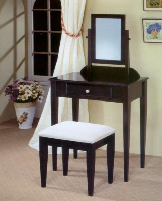 Cappuccino Finish Vanity with Adjustable Mirror and Bench