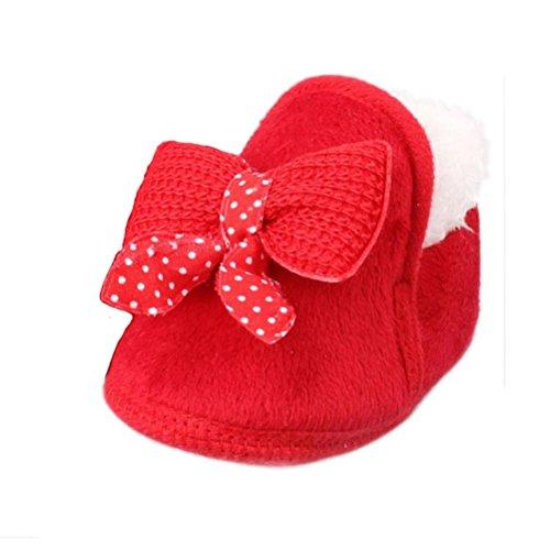 Scarpine Neonata,Xinantime Inverno Pattini Infantili Walking Bambino Morbida Boots (14, Rosso)