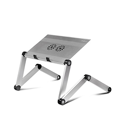 Furinno X7-F Aluminum Adjustable Laptop Table/Portable Bed Tray with Cooler Fan, Silver (Cooler Desk compare prices)