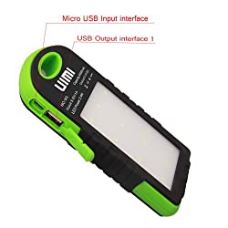 Uimi U3 6000 mAh Waterproof Li-poly DUAL Output USB Ports portable charger with Torch Light (Green )