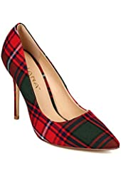 Liliana CF87 Women Plaid Pointy Toe Stiletto Heel Classic Single Sole Pump - Red