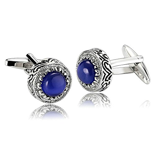 adisaer-stainless-steel-cufflinks-for-men-engraved-pattern-round-blue-unique-business-wedding-cuffli