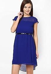 PRAKUM Women's Georgette Regular Fit Dress Blue