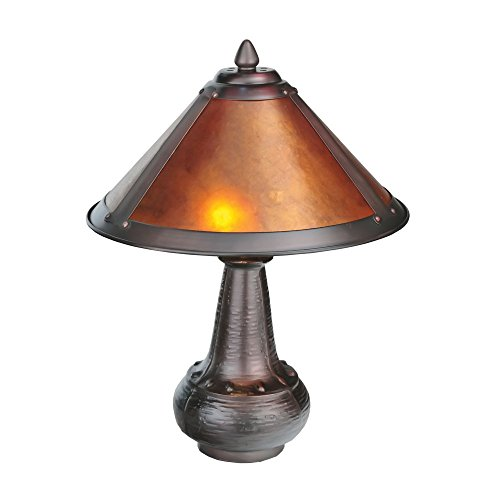 "Meyda Home Indoor Bedroom Decorative 14""H Van Erp Amber Mica Accent Lamp"