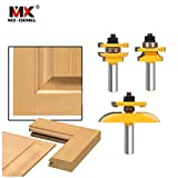 3Pcs 1/2'' Shank Rail & Stile Ogee Blade Cutter Panel Cabinet Router Bits Set Milling cutter Power Tools Door knife Wood Cutter (Color: T050)