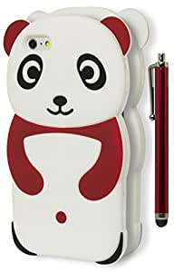 iPhone 6 PLUS (5.5 inch) Case, Bastex Heavy Duty Soft Silicone Protective Case - Red and White Happy Panda Design Cover for iPhone 6, 5.5 Plus**INCLUDES STYLUS**