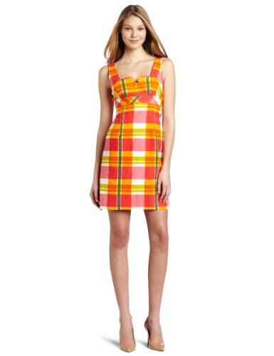 Trina Turk Women's Orange 2 Plaid Jacquard Dress, Multi, 2