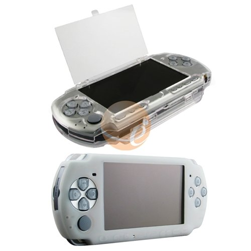 Clear White Soft Silicone Skin Case + Hard Crystal Case for Sony PSP 2000 3000