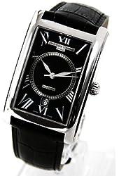 Frederique Constant Carree Automatic Black Dial Black Leather Strap Mens Watch 303BS4C26