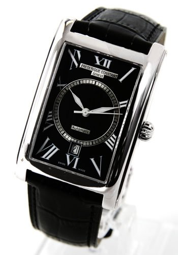Frederique Constant Carree Automatic Black Dial Black Leather Strap Mens Watch 303Bs4C26