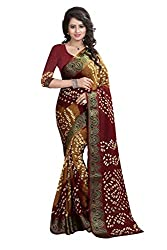 Yellow And Maroon Heavy Bandhani Saree