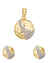 Voylla Gold Tone Round Jali Pendant Set Without Chain With CZ