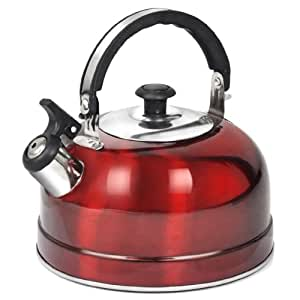 Tinxs 2.5L Camping Narrow Boat Whistling Kettle Home Hob Gas Electric Induction Available in Green and Red (Red)