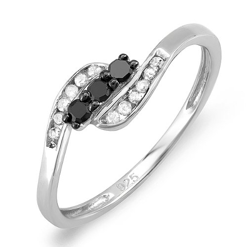 0.25 Carat (ctw) 925 Sterling silver Round Black & White Diamond Ladies 3 stone Engagement Bridal Promise Ring