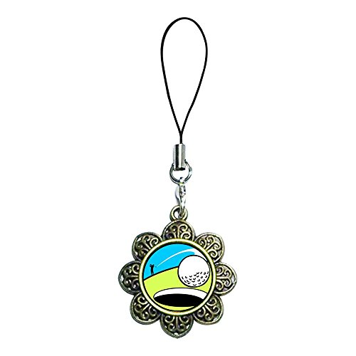 Giftjewelryshop Ancient Bronze Retro Style Golf Photo Sun Flower Strap Hanging Chain For Phone Cell Phone Charm