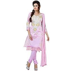 Yes Fashions Women's Party wear Peach Chanderi Cotton+Sleeves Chiffon Dress Materials
