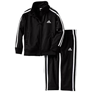 Adidas Boys 2-7X Basic Tricot Set (4T, Black)