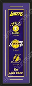 Heritage Banner Of Los Angeles Lakers With Team Color Double Matting-Framed Awesome... by Art and More, Davenport, IA
