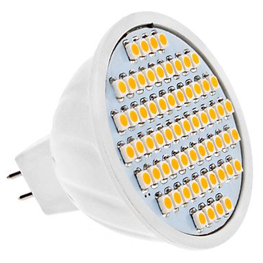 Mr16 4W 60X3528 Smd 300-320Lm 3000-3500K Warm White Light Led Spot Bulb (12V)