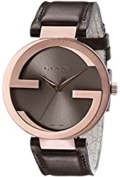 Gucci Men's YA133207 Interlocking Iconic Bezel Rose Gold-Tone Watch with Brown Genuine Leather band
