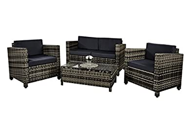 New 4 piece Grey Roma Rattan Garden Furniture Sofa set with Coffee Table and Chairs INCLUDES GARDEN FURNITURE COVER