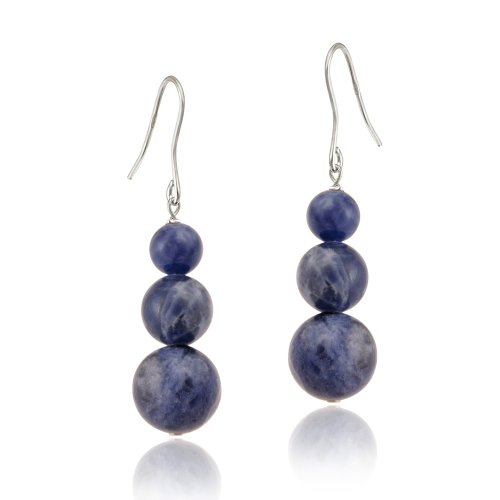 Sterling Silver Sodalite Three-Stone Drop Earrings