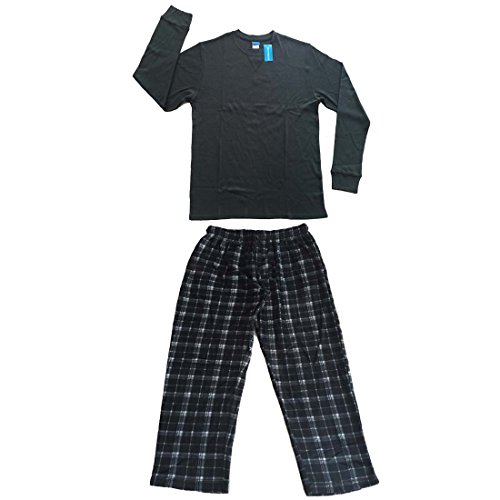 Men's 2 PC Cotton Thermal Top & Fleece Lined Pants Pajamas Set (L, Grey) (Thermal Pajama Men compare prices)
