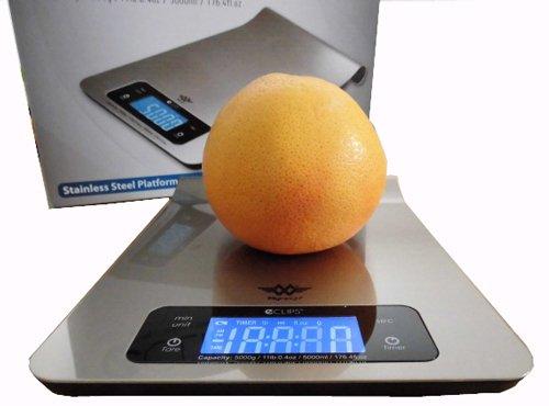 PROMOTION - Balance de cuisine extra-plate inox - pesage en grammes, ml (liquides), minuteur, fixation murale - 5kg/1g