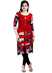 Clickedia Women's Cotton Semi-Stitched Kurta (neerja red kurti_Red)