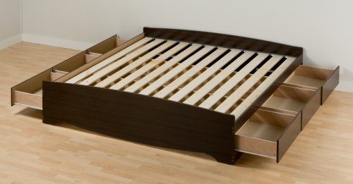 Prepac King Platform Storage Bed, Espresso