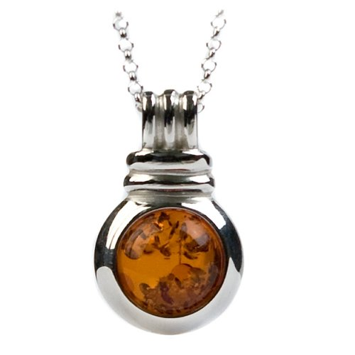 Sterling Silver Honey Amber Round Pendant Necklace , 18