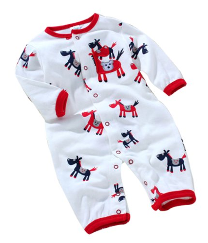 Baby Toddler Cotton Infant Jumpsuit Front Horse 12(As Picture,Newborn)