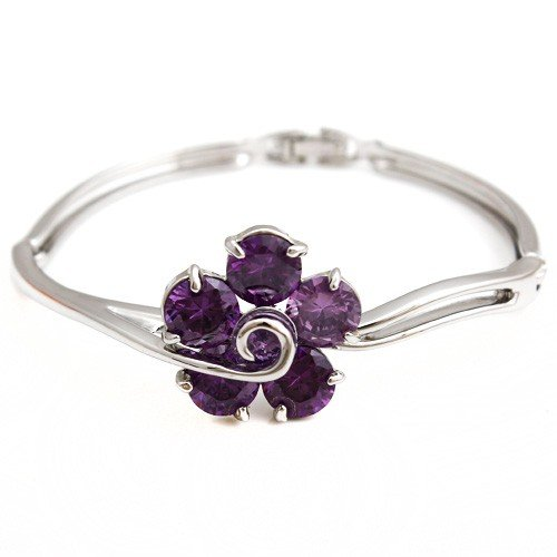 2013 New Purple Crystal the Flower Design Bangle