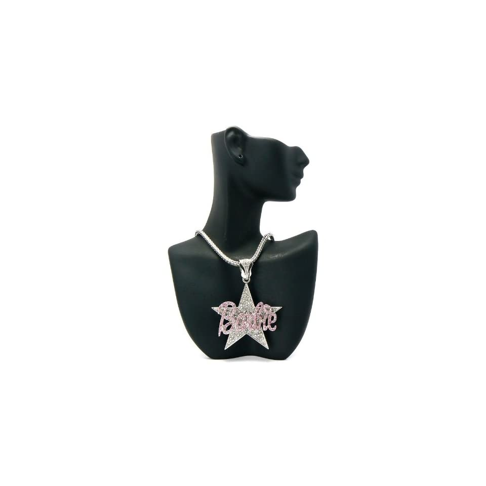 NICKI MINAJ BARBIE Star Pendant w/Franco Chain Silver/Pink MP602