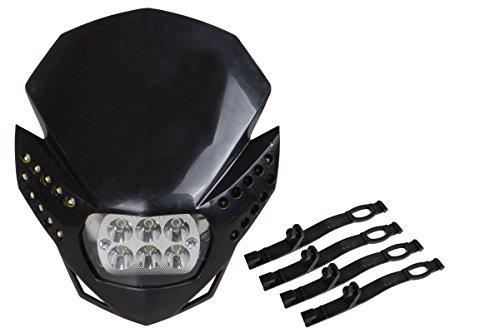 TMS HL-TMS-K(6LED) Black LED Headlight Fairing Light (Street Fighter Naked Off-Road Dirt Bike Custom For BMW KTM CBR F4i XR CRF Ninja EX250 ZX6R) (Dirt Bike Headlight compare prices)