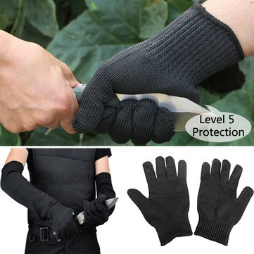 WALID@1 Pair Steel Wire Safety Anti-cutting Gloves Gardening Work Outdoor Camping Protection Tool