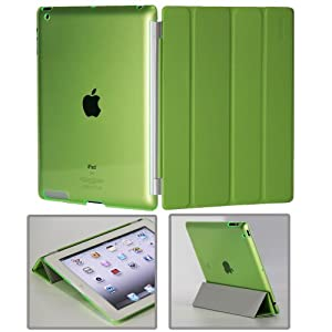 KHOMO DUAL CASE: Green Polyurethane Smart Cover FRONT + GreenPoly-carbonate BACK Protector for Apple iPad 2