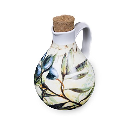 Toscana Harvest Ceramic Large Olive Oil Bottle with Cork Stopper by Occasion