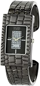 Golden Classic Women's 2240-black Evocative Sheath Rectangular Rhinestone Dial Bangle Watch