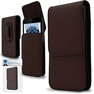 Brown PREMIUM PU Leather Vertical Executive Side Pouch Case Cover Holster with Belt Loop Clip and Magnetic Closure for Huawei Y5