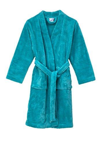 TowelSelections Big Girls' Kimono Plush Robe Soft Fleece Bathrobe Size 8 Blue Turquoise