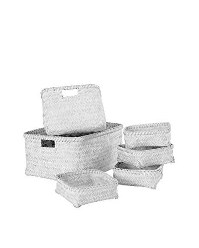 Compactor Set De 6 Cestas De Bamboo Pintado Blanco
