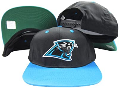 Carolina Panthers Black/Teal Two Tone Snapback Adjustable Plastic Snap Back Hat / Cap