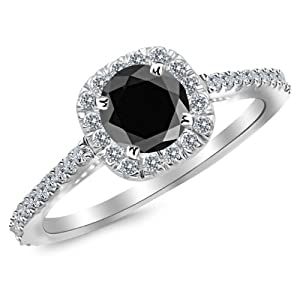 1.35 Carat 14K White Gold Gorgeous Classic Cushion Halo Style Diamond Engagement Ring with a 1 Carat Black Diamond Center (Heirloom Quality)